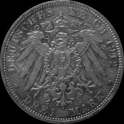 3 марки 1912 Пруссия. Вильгельм II.