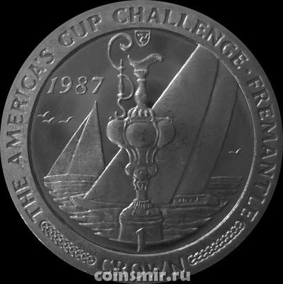 1 крона 1987 остров Мэн. Кубок на фоне яхты. Кубок Америки (регата). Фримантл.