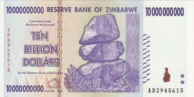 10 миллиардов долларов 2008 Зимбабве. Серия АА.