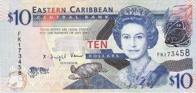 10 долларов 2008 Восточные Карибы.