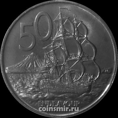 50 центов 1973 Новая Зеландия. Парусный корабль Индевор.