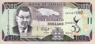 100 долларов 2012 Ямайка. 50-летие независимости Ямайки.