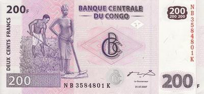 200 франков 2007 Конго.
