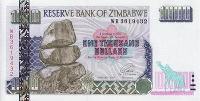 1000 долларов 2003 Зимбабве.