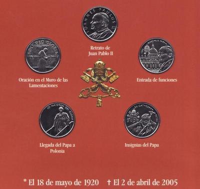 Набор из 5 монет 2005 Мальтийский орден. Папа Иоанн Павел II. Испанский язык.