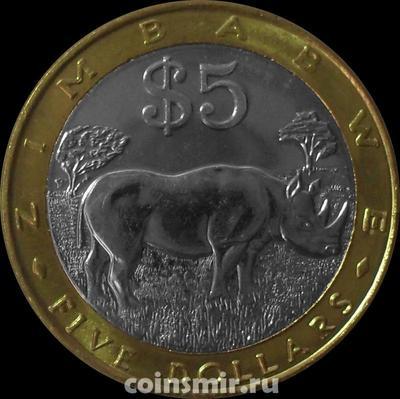 5 долларов 2002 Зимбабве. Носорог.