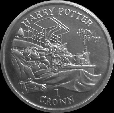 1 крона 2002 остров Мэн. Гарри Поттер в больнице.