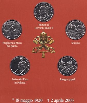 Набор монет 2005 Мальтийский орден. Папа Иоанн Павел II. Итальянский язык.