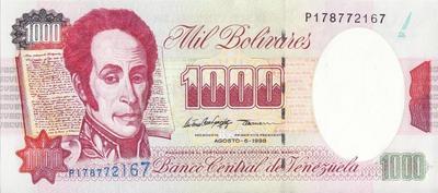 1000 боливаров 1998 Венесуэла.