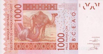 1000 франков 2003 К  КФА ВСЕАО. (Западная Африка)