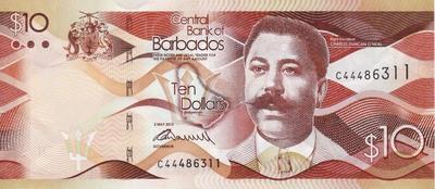 10 долларов 2013 Барбадос.