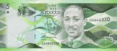 5 долларов 2013 Барбадос.