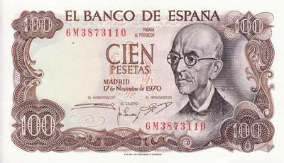 100 песет 1970 Испания.