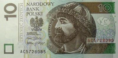 10 злотых 2012 Польша.