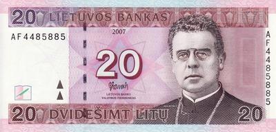 20 литов 2007 Литва.