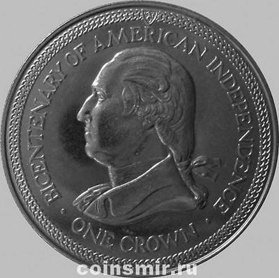 1 крона 1976 остров Мэн. 200 лет независимости США. Джордж Вашингтон.