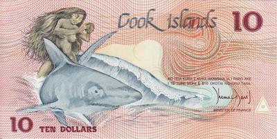 10 долларов 1987 острова Кука.
