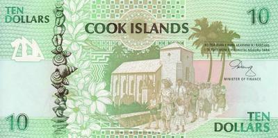 10 долларов 1992 острова Кука.