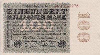 100 миллионов марок 1923 Германия. В/з листья дуба.