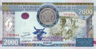 2000 франков 2008 Бурунди.