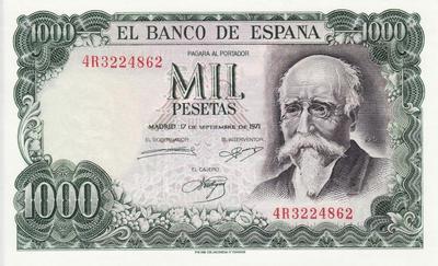 1000 песет 1971 (1974)  Испания. 100 лет банку Испании.