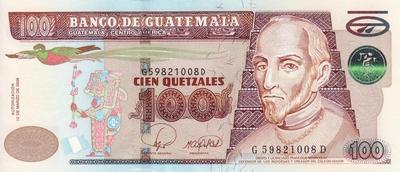 100 кетсалей 2008 Гватемала.