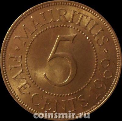 5 центов 1969 Маврикий.