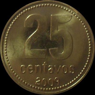 25 сентаво 2009 Аргентина.