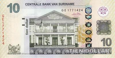10 долларов 2010 Суринам.