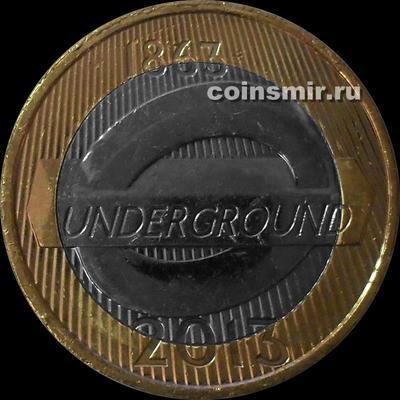 2 фунта 2013 Великобритания. 150 лет Лондонскому метро. Эмблема.