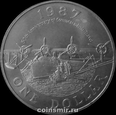 1 доллар 1987 Бермуды. Самолёт-амфибия.
