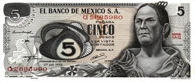 5 песо 1972 Мексика.
