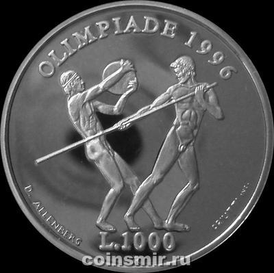 1000 лир 1995 Сан-Марино. Олимпиада в Атланте 1996.