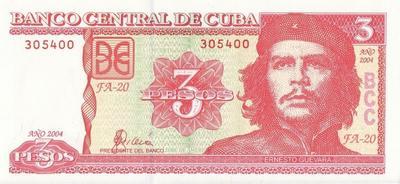 3 песо 2004 Куба.  Че Гевара.