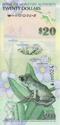 20 долларов 2009 Бермуды.