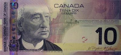 10 долларов 2005-2009 Канада.