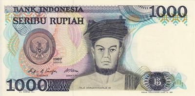 1000 рупий 1987 Индонезия.