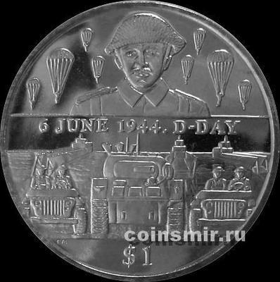 1 доллар 2004 Британские Виргинские острова.  50 лет высадки в Нормандии. Армия.