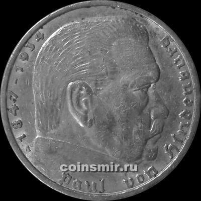 5 марок 1937 А Германия. Гинденбург.