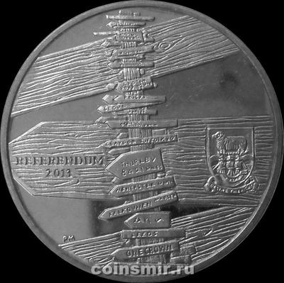1 крона 2013 Фолклендские острова. Референдум по статусу Фолклендских островов.