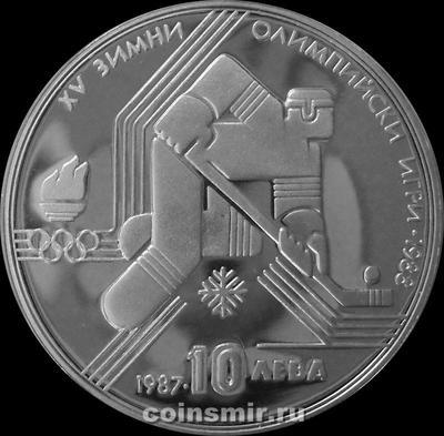 10 левов 1987 Болгария.  Зимняя Олимпиада 1988 в Калгари. Хоккей.