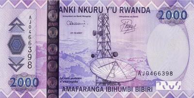 2000 франков 2007 Руанда.