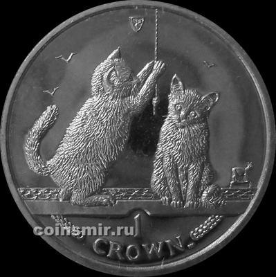 1 крона 2001 остров Мэн. Сомалийская кошка.