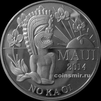 2 торговых доллара 2014 остров Мауи. Гавайский бог Тики.