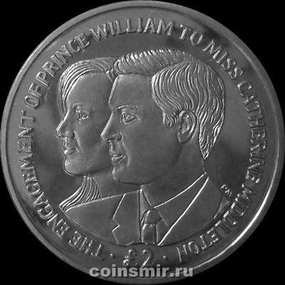 2 фунта 2010 Британская территория в Индийском океане. Принц Уильям и Кейт Миддлтон.