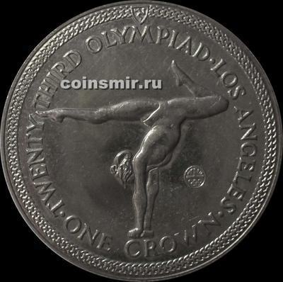 1 крона 1984 остров Мэн. Олимпиада в Лос-Анджелесе 1984. Спортивная гимнастика.