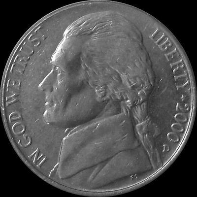 5 центов 2000 D США. (в наличии 2001 Р) XF