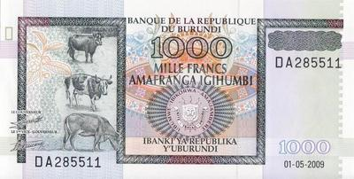 1000 франков 2009 Бурунди.
