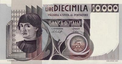 10000 лир 1976 Италия.