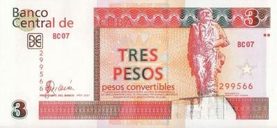 3 конвертируемых песо 2007 Куба. Че Гевара.